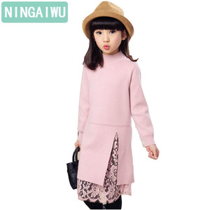 Image 3 - New girl children winter sweater dress lace stitching split long turtleneck knitted kids girls long sleeves dress party clothes