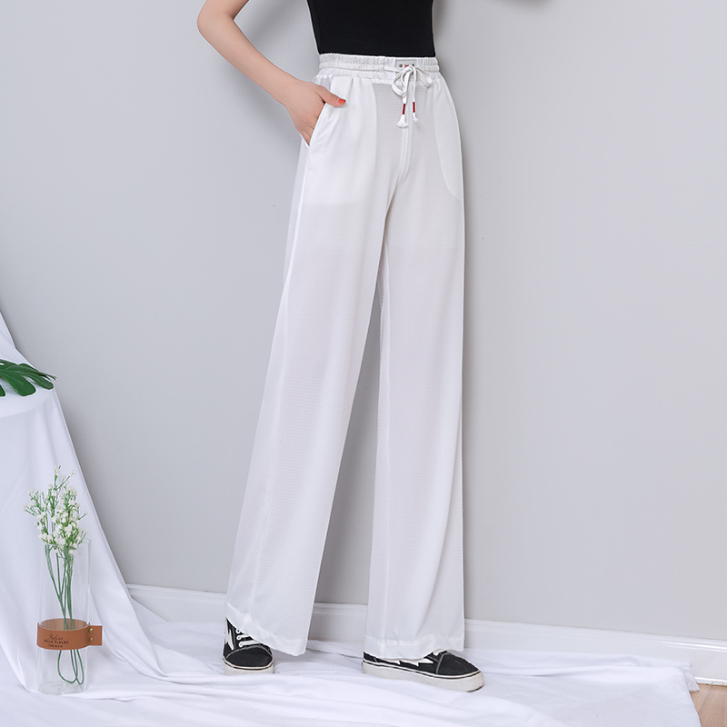 White Breathable   Wide     Leg     Pants   Women High Waist Lace Up Harajuku Plus Size Palazzo Summer   Pants   Korean See Through Trousers