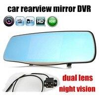 Car Dvr Mirror Vehicles Rearview Camera 5 Inch Mirror Video Registrar Two Cameras Night Vision Recorder