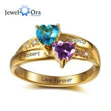 Золотой Цвет Персонализированные кольцо с каменями, соответствующий месяцу своего рождения , кольцо из  Рафинированного Серебра 925 , Подрок рождество , день рождения (JewelOra RI102346)