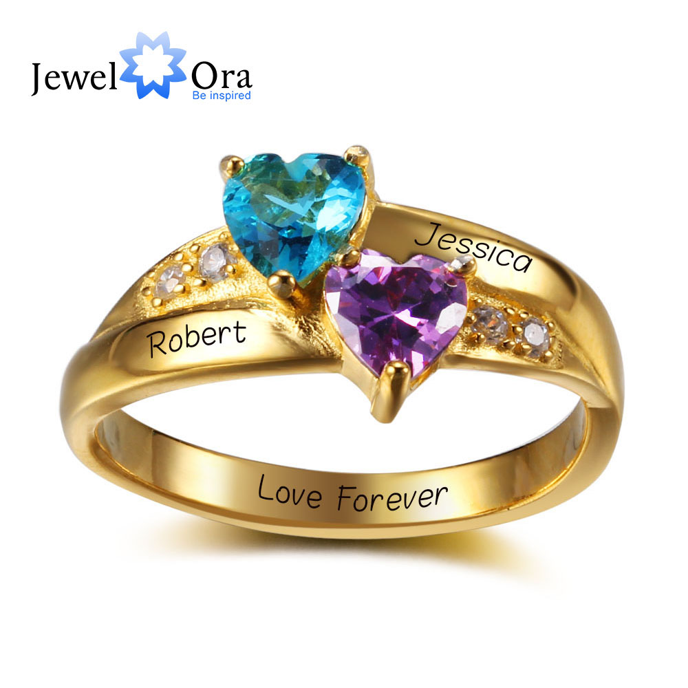 Personalized Name Ring 2 Heart Birthstone 925 Sterling Silver Cubic Zirconia Ring Birthday Gift Idea (JewelOra RI102346)Personalized Name Ring 2 Heart Birthstone 925 Sterling Silver Cubic Zirconia Ring Birthday Gift Idea (JewelOra RI102346)