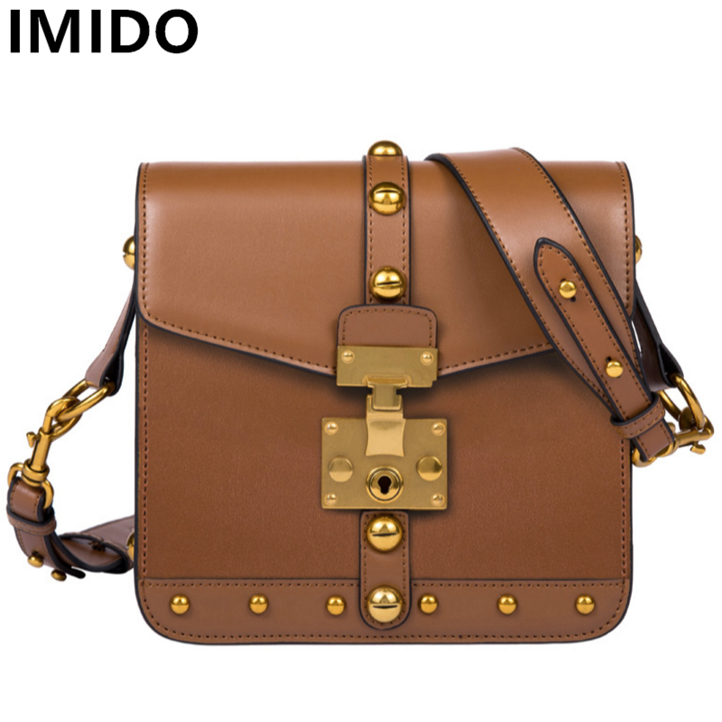 IMIDO Cow Split Leather Bags England Style  Vintage Women Handbags New Women