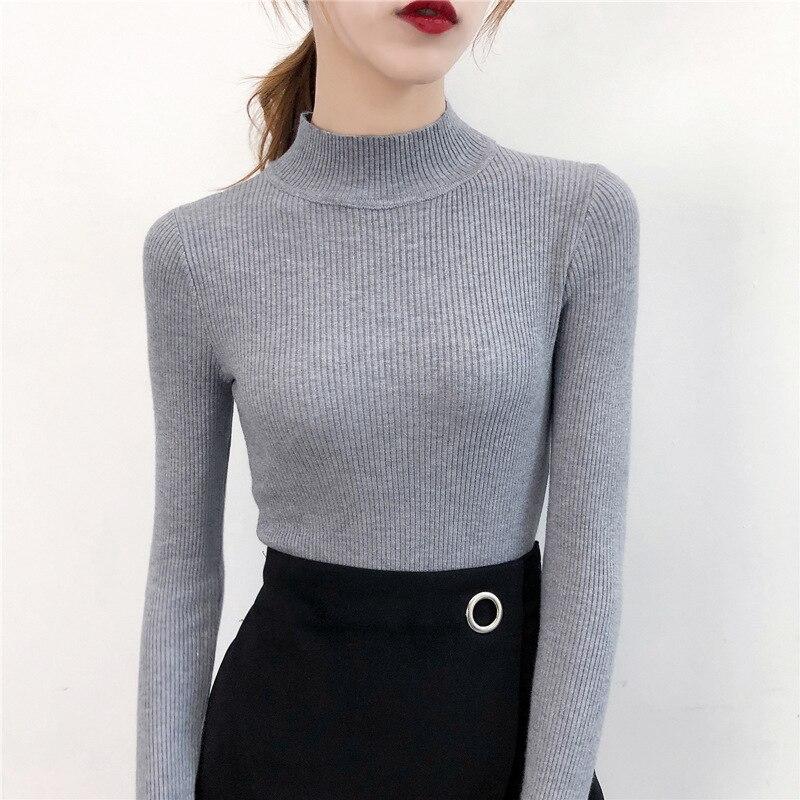 SVOKOR Slim Sweater Women Half-neckline Knitting Bottoming Shirt Long Sleeve Solid Pullovers Female Sweater Warm Casual