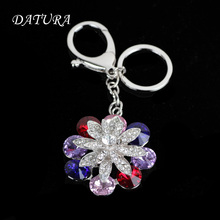 9colors  Fashion rhinestone multicolour flower  pendant quality chic Car key chain ring holder Jewelry  for women.