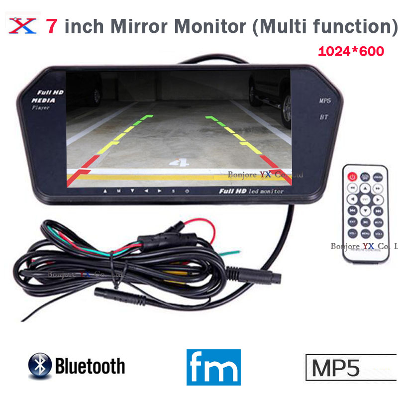 Koorinwoo High Resolution 1024x600 7 LCD TFT Car rear view Monitor Mirror Screen TF USB Slot Bluetooth MP5 Car Monitor For Car 7 inch touch screen bluetooth mp5 car rear view mirror monitor tf usb 800 480 lcd fpv bt mirror pal ntsc for car or truck bus