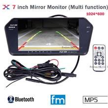 Koorinwoo высокое Разрешение 1024×600 7 ЖК-дисплей TFT заднего вида Мониторы зеркало Экран TF USB слот Bluetooth MP5 автомобиль Мониторы для автомобиля