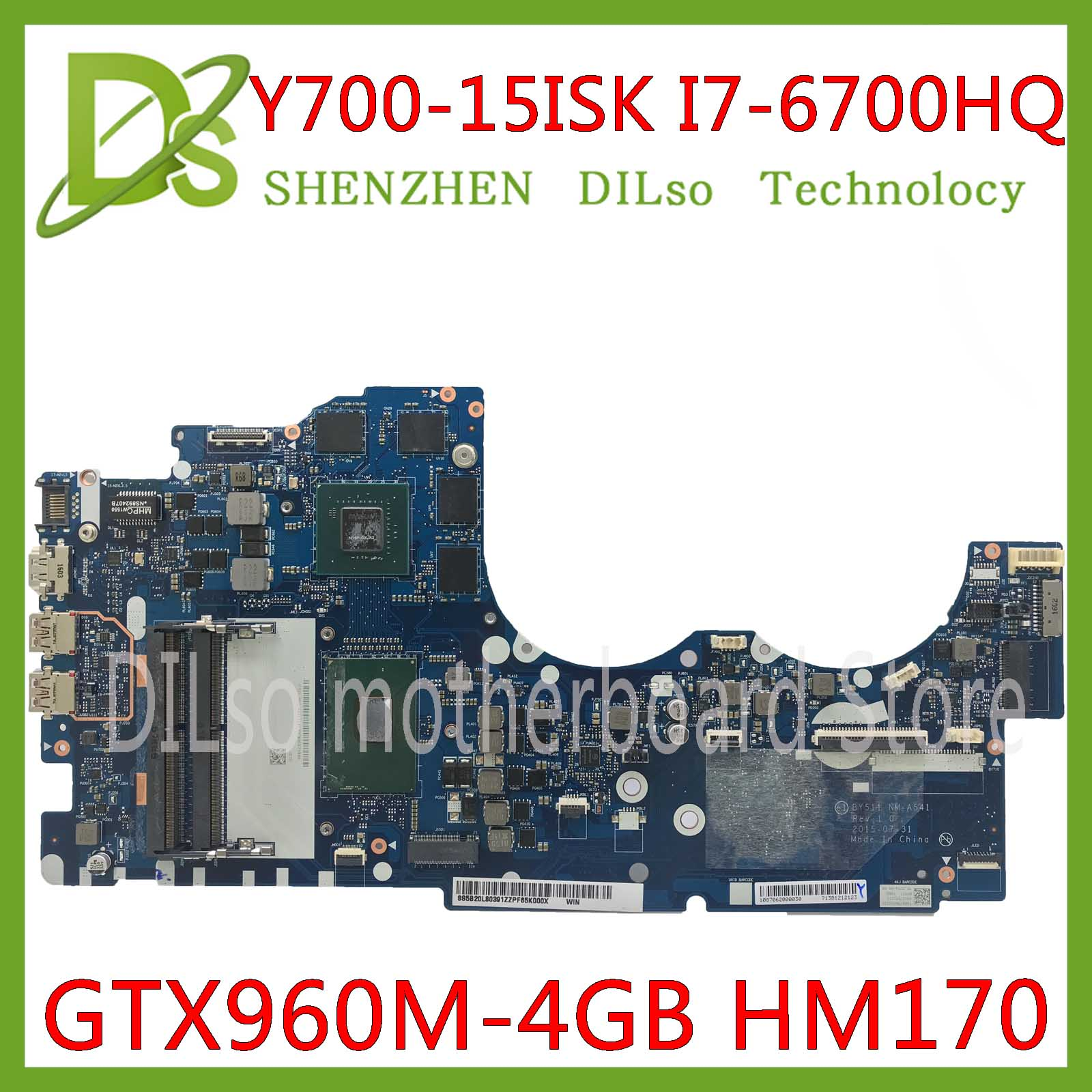 KEFU NM-A541 Motherboard For Lenovo Ideapad Y700-15ISK Y700 Y700-15 BY511 Laptop Motherboard I7-6700 GTX960M 4GB Tested Original