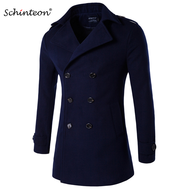 Schinteon Wool Jacket Double-Breasted Trench-Coat Smart Casual Solid M-4XL Men Simple