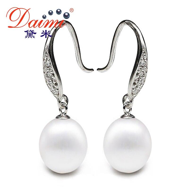 [Daimi] Tear Drop Earring 9-10mm Freshwater Pearl with 925 Sterling Silver Rhinestone Dangle Earrings For Women VINTAGE цена 2017