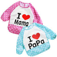 Cartoon children waterproof baby eating bib set optional anti-dirty clothes cover one size 2 color Anti-Water long sleeve