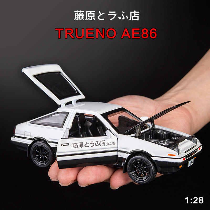 New Initial D Toyota AE86 1:28 Paduan Model Mobil Kartun Anime Cepat Marah Tarik Kembali Suara Cahaya Diecast Mobil model Mainan Anak Laki-laki