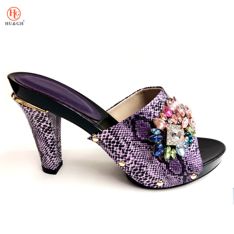 Purple Color African Slippers Summer High Heels High Quality African Sandals Heels Pumps African Wedding Italian Design Shoes african symbolism