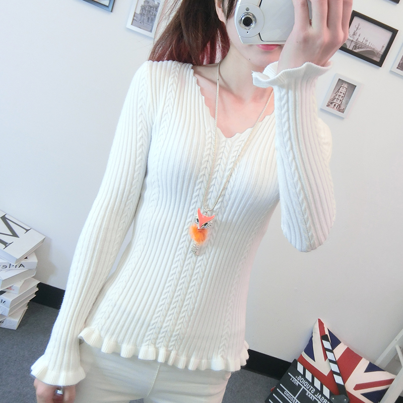 New Women s Sweater Autumn 2016 Winter Fashion Elegant Solid Wave V neck Ruched Slim Sweater