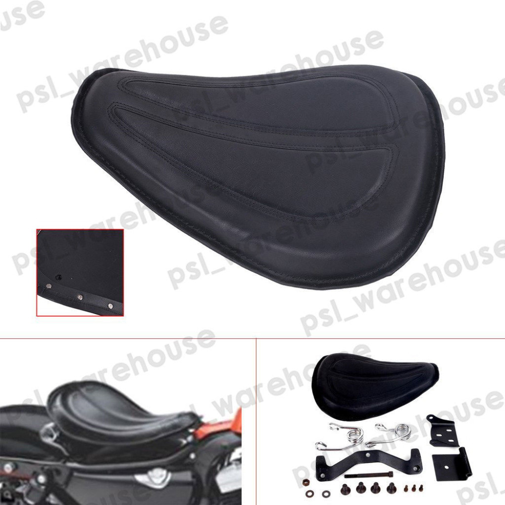 XYIVYG 15 Black Stitched Leather Inlay Solo Seat Pad W/ Brackets For Harley SPORTSTER XL 1200 883