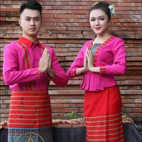 Asian Style Hotel Thailand Restaurant waiter uniform YunNan Dai Hotel Costume Men Women matching simple generous Ethnic Clothing