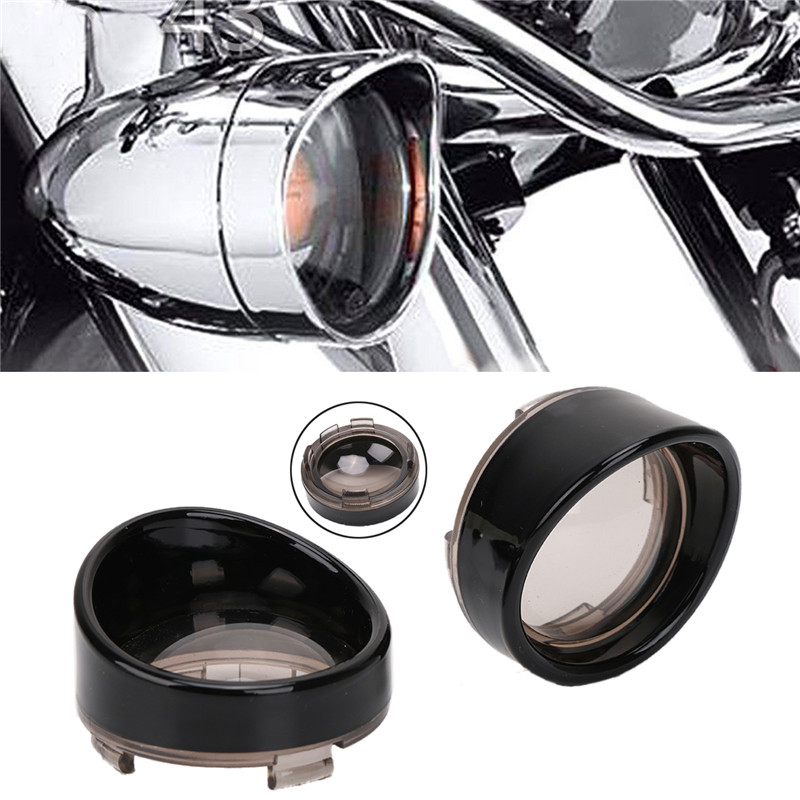 2 Style Black And Chrome Turn Signal Visor-Style Ring Kit Smoked Lens Cover For Harley Touring Dyna Softail XL883 XL1200 C/5 style