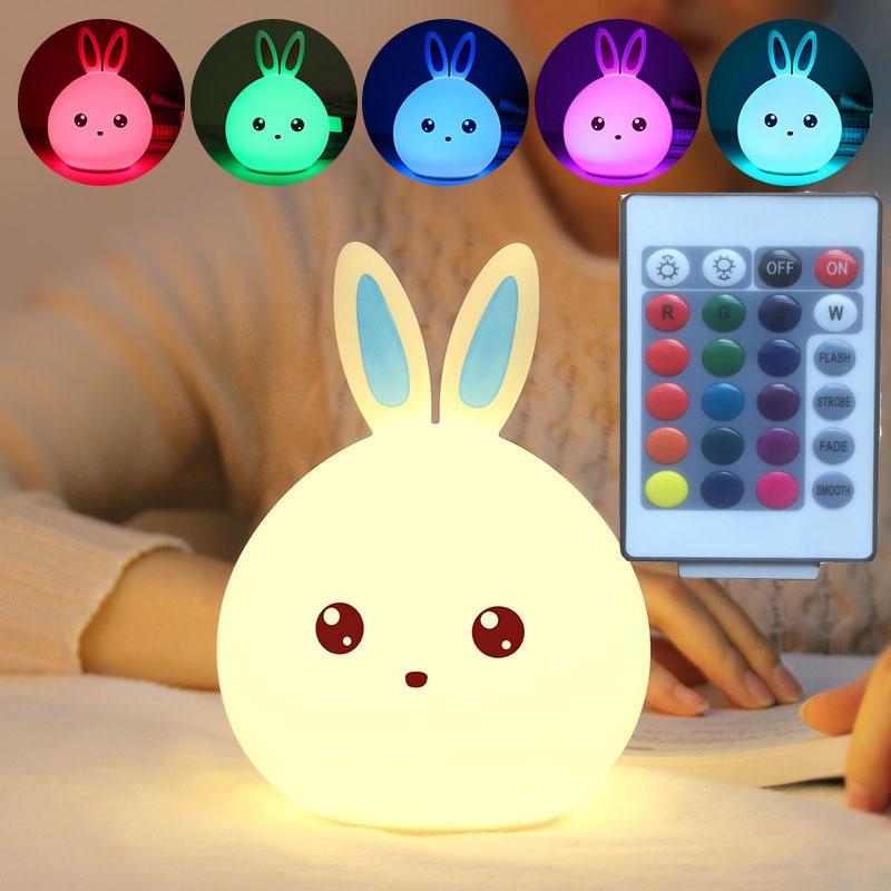 Silicone Touch Sensor LED Night Light Soft Cartoon For Children Baby Kids Nursery Lamp 7 Colors 2 Mode Rabbit USB LED Night Lamp