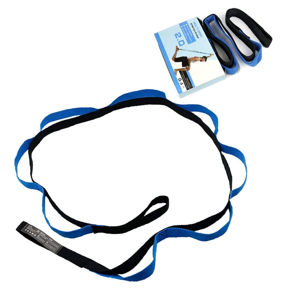 Yoga Strap for Stretching Stretch Band with 10 Loops &Multi-Grip Pilates Hamstring Stretcher Belt Strap(China)