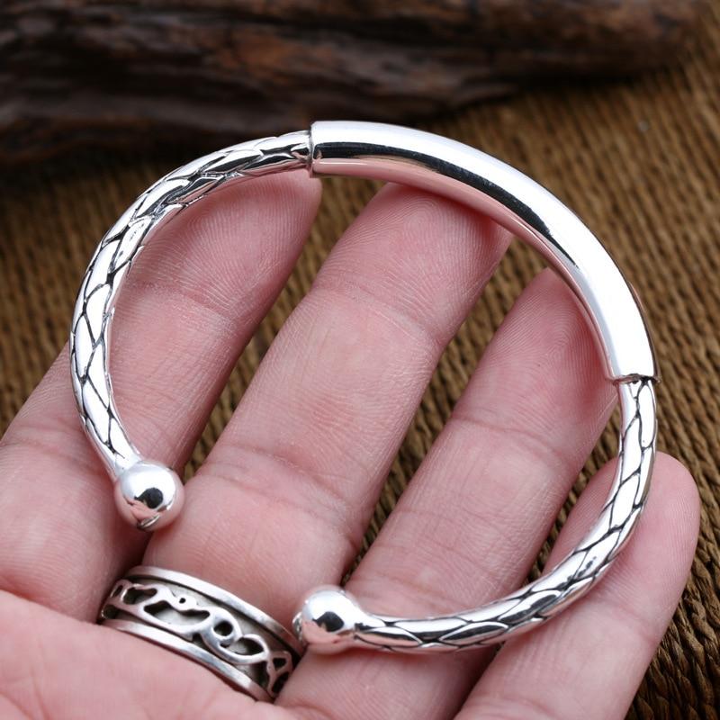 Starfield S925 Sterling Silver Jewelry Silver Foot Silver Thai Women Simple Hoop Snake Scales Men Women Open Ended Bangle