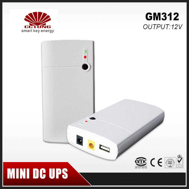 GM312 Mini Portable UPS 12V Input & Dual 12V & 5V Output With 7.8Ah Lithium Battery for Long Backup Time for CCTV System & Modem