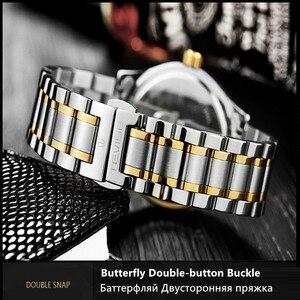 Image 4 - TEVISE reloj dorado de lujo para mujer, pulsera de acero de cuarzo, resistente al agua, con fecha y semana
