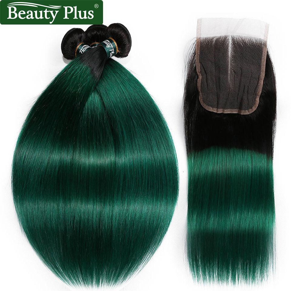 Green Bundles With Closure 3 Pcs Ombre Bundles With Closure Non Remy Peruvian Hair Bundles With Closure Straight Black BP