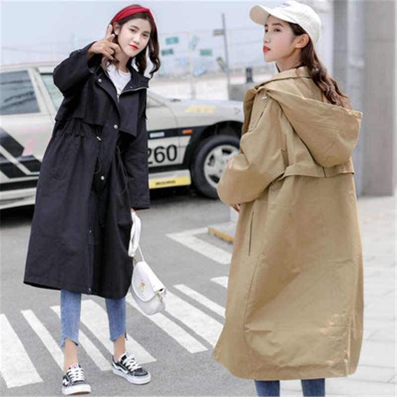 2020 New Autumn Winter Women Trench Coat Medium Long Windbreaker Loose Large Size Ladies Trench Coats Spring Hooded Coats  X189