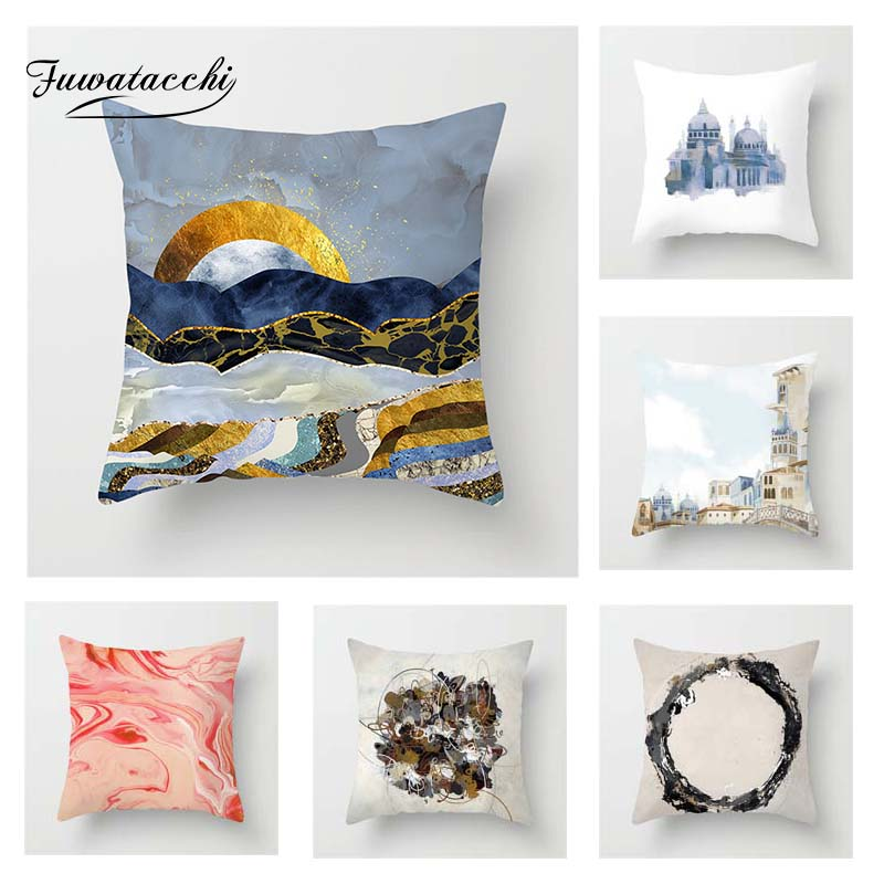 Table & Sofa Linens Impartial Fuwatacchi Oil Painting Style Cushion Cover Black Pink Square Printed Pillow Cover Decorative Pillows For Sofa Car Bedroom Superior Materials