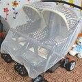 Двухместный Детские Младенцы/Близнецы Белый Москитная сетка Коляска Коляска Крышка Перевозки Для Младенца Прогулочная Коляска