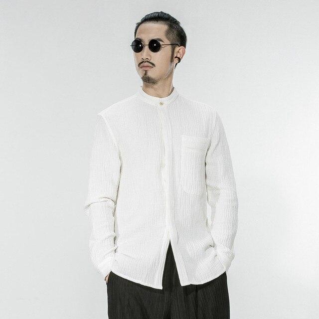 aafea3fcdeb Style-chinois-Col-montant-100-Coton-Chemises-Hommes-Manches-Longues-Printemps-et-Automne- 2018-Tops-Hommes.jpg 640x640.jpg