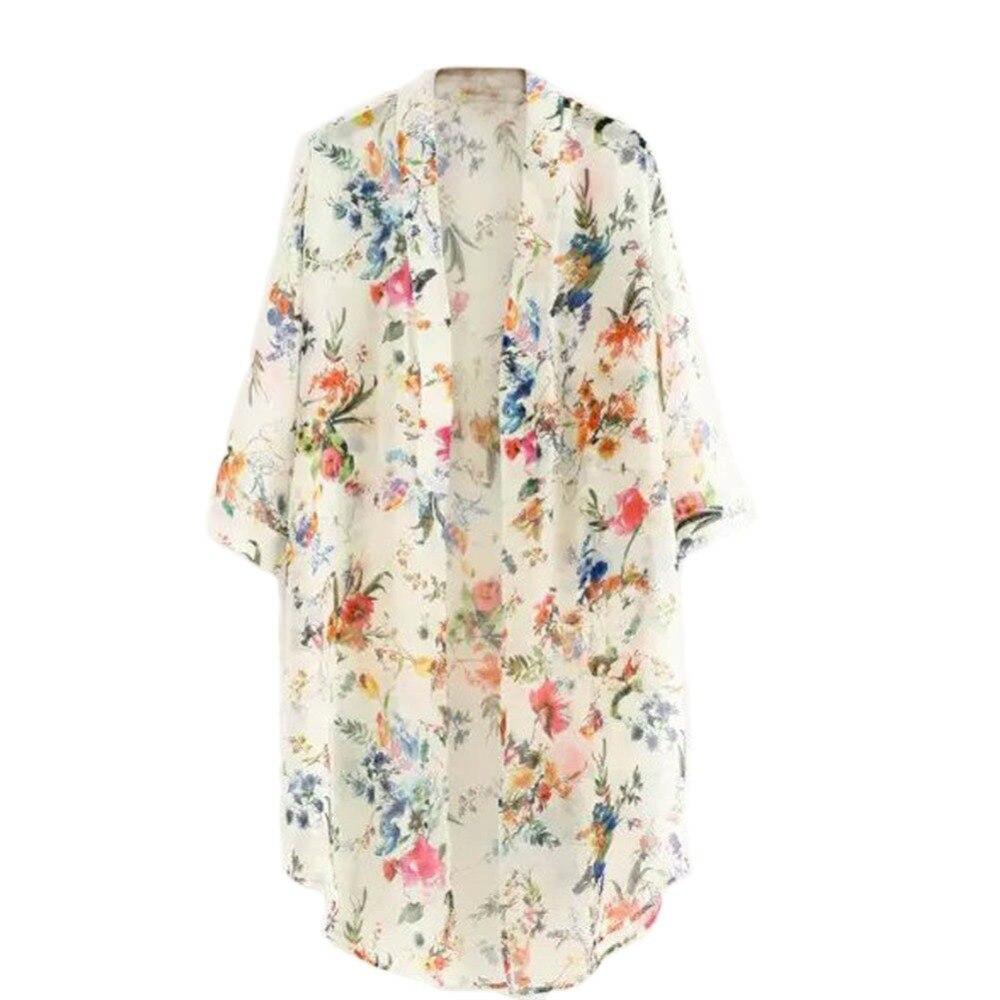 Verano Sunproof 2018 Moda apricot Mujeres Cubrir Capa De Colores Negro Impresión Kimono Del 2 Camisa Q6 Nueva Gasa Hasta Llegada Cardigan 1tBBIAx