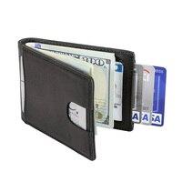 Gibo Auja Vintage Oil Wax Genuine Leather Wallet Clutch Pull Tab Men Wallets Card Holder Rfid
