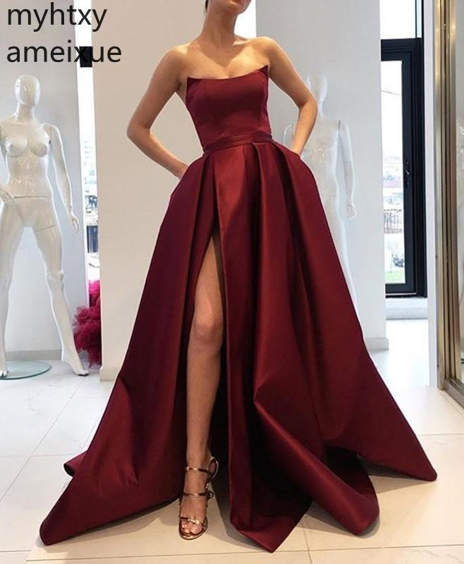 2019 New Red And Pink Sexy Cheap Evening Dress Formal Dress Scoop Sweep Train A-line Plus Size Evening Gown Dresses For Women