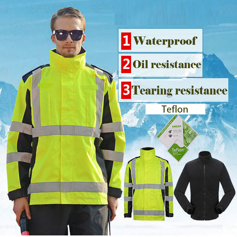 SFVEST THERMAL WINTER REFLECTIVE SAFETY JACKET PARKA OIL TEARING RESISITANCE WATERPROOF WINDPROOF WINDBREAKER  FREE SHIPPING maritime safety