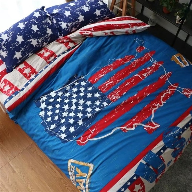 956fdde800a America Style USA Map Flag Bedding Set Queen Size Duvet Cover Bed Sheets  Pillowcase Pure Cotton Printed Fabric Home Textiles