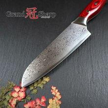 Grandsharp Дамасская сталь нож 67 слоев японский Дамасская сталь японский Дамаск кухонный нож сантоку 7 дюймов суши сашими