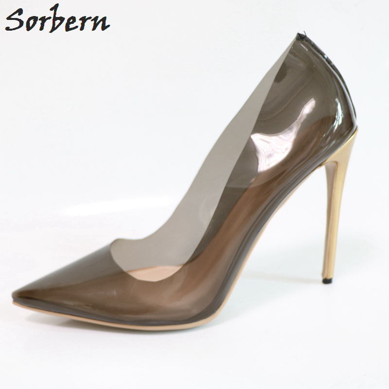 Sorbern Black See Through Pvc Women Pumps Pointed Toe Slip On Stilettos Ladies Shoes High Heels Pumps Black Heels Stilettos sorbern real photo colored glitter sequins women pumps slip on rivets ladies shoes women high heels stilettos pumps eu34 46