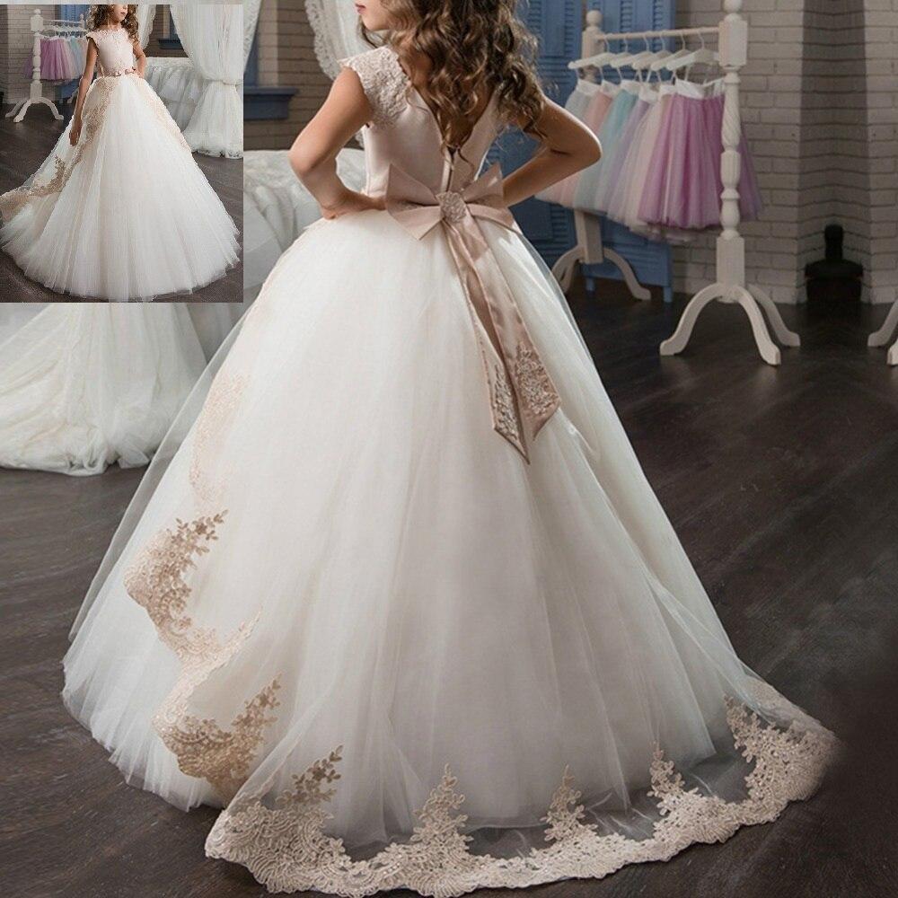 Robes de demoiselle d'honneur de mariage princesse Vintage pour enfants première Communion fête filles robe Pageant traînant de longues robes pour les filles