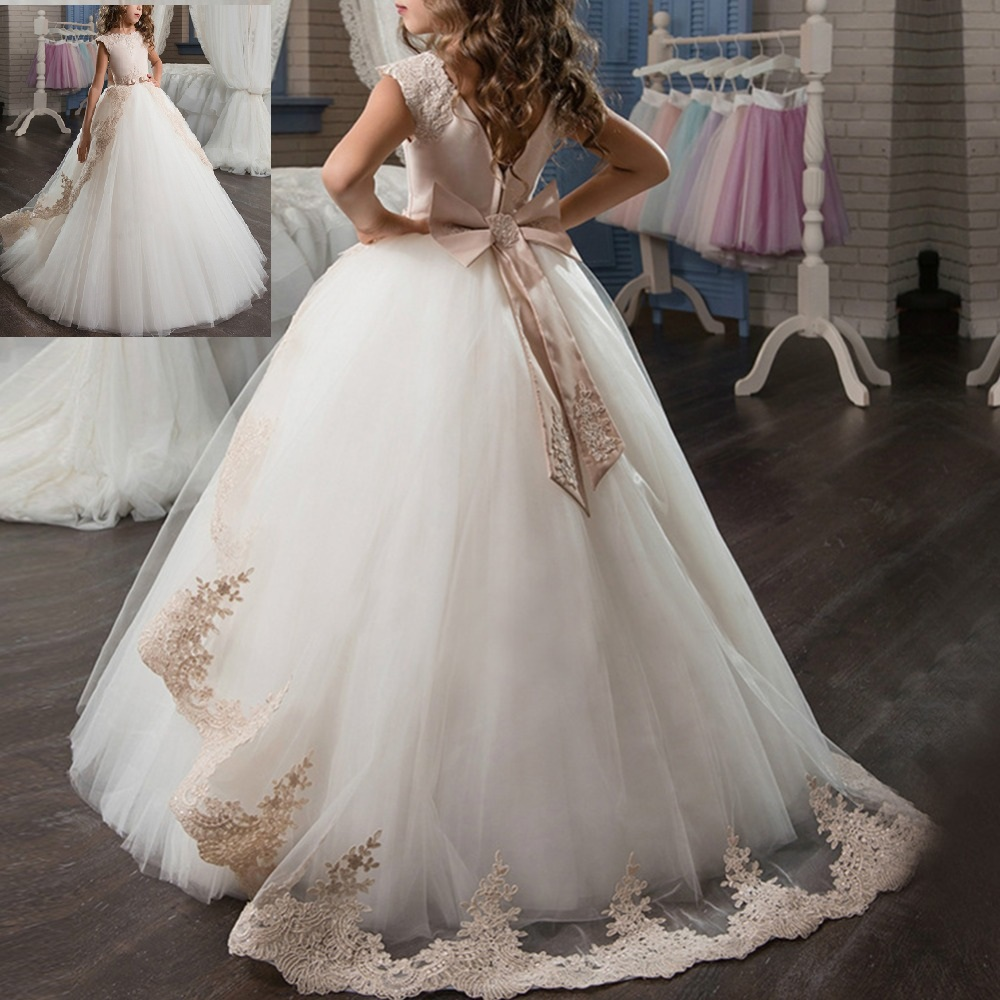 Vintage Princess Wedding Bridesmaid Dresses for Kids First Communion Party Girls Dress Pageant Trailing Long Dresses for GirlsVintage Princess Wedding Bridesmaid Dresses for Kids First Communion Party Girls Dress Pageant Trailing Long Dresses for Girls
