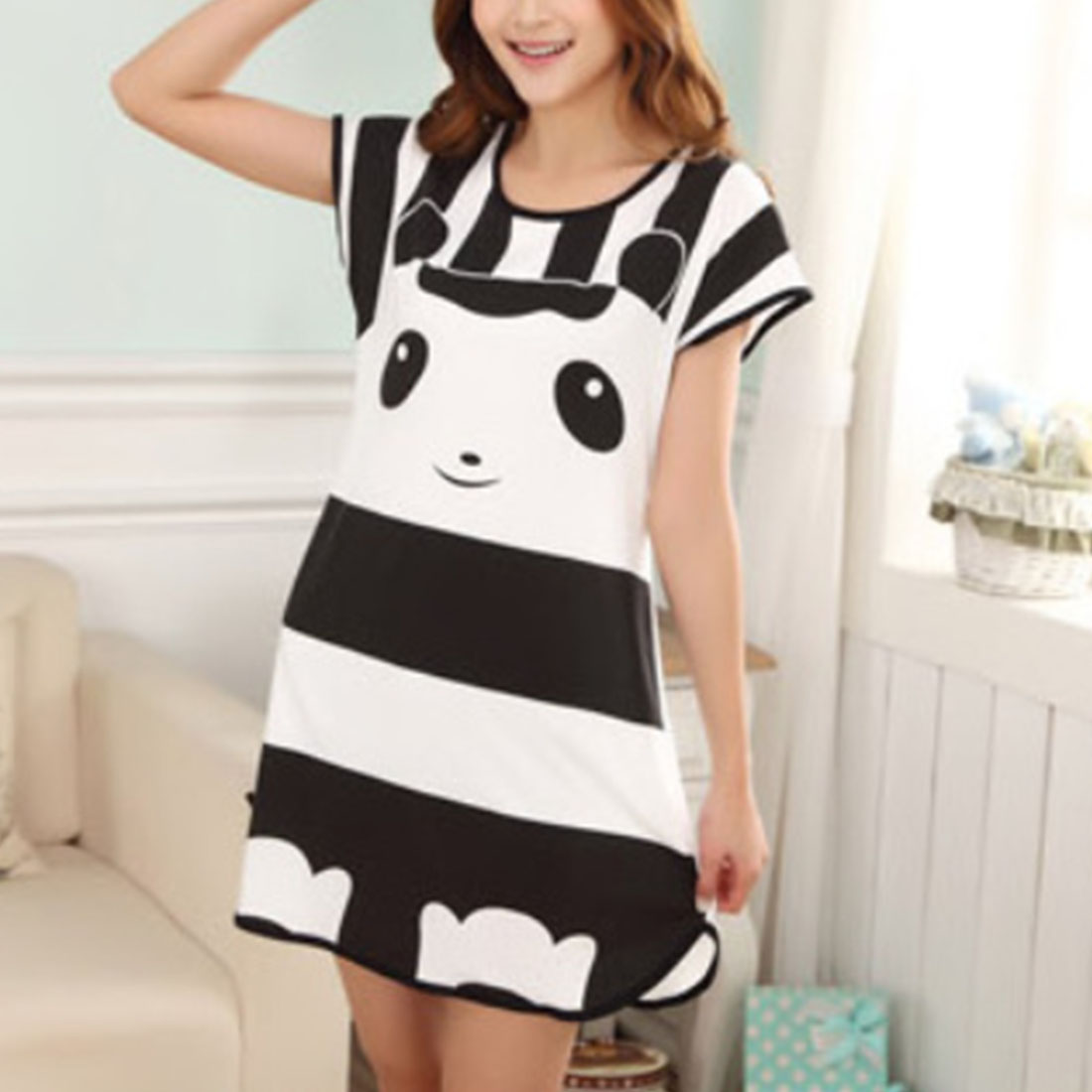 Plus Size Oversized Nightdress Young Girl New Womens Summer Short Sleeve Sleep Dress Lovely Cartoon Pattern Printed Sleepshirt