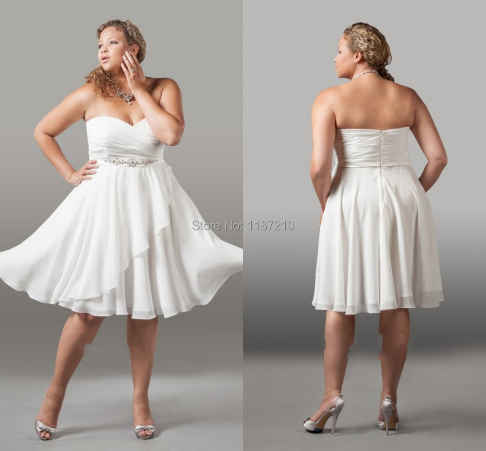 9a48b9abbc6e Beach Short Wedding Dresses 2015 Cheap Bridal Gowns Plus size Short Cheap  Chiffon Beaded Waist Backless Wedding Dress Plus Size-in Wedding Dresses  from ...