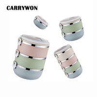 CARRYWON Portable Stainless Steel Japanese Style Box Gradient Color Thermal For Food With Containers Lunch Boxs