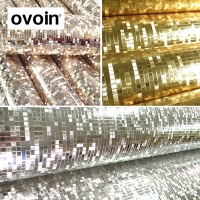 PVC Luxury Luminous Gllitter Pvc Mosaic Wallpaper Silver Gold Foil Wall Paper Roll For Ceilings Hotel