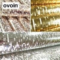 PVC Luxury Luminous Gllitter Pvc Mosaic Wallpaper Silver Gold Foil Wall Paper Roll For Ceilings Hotel