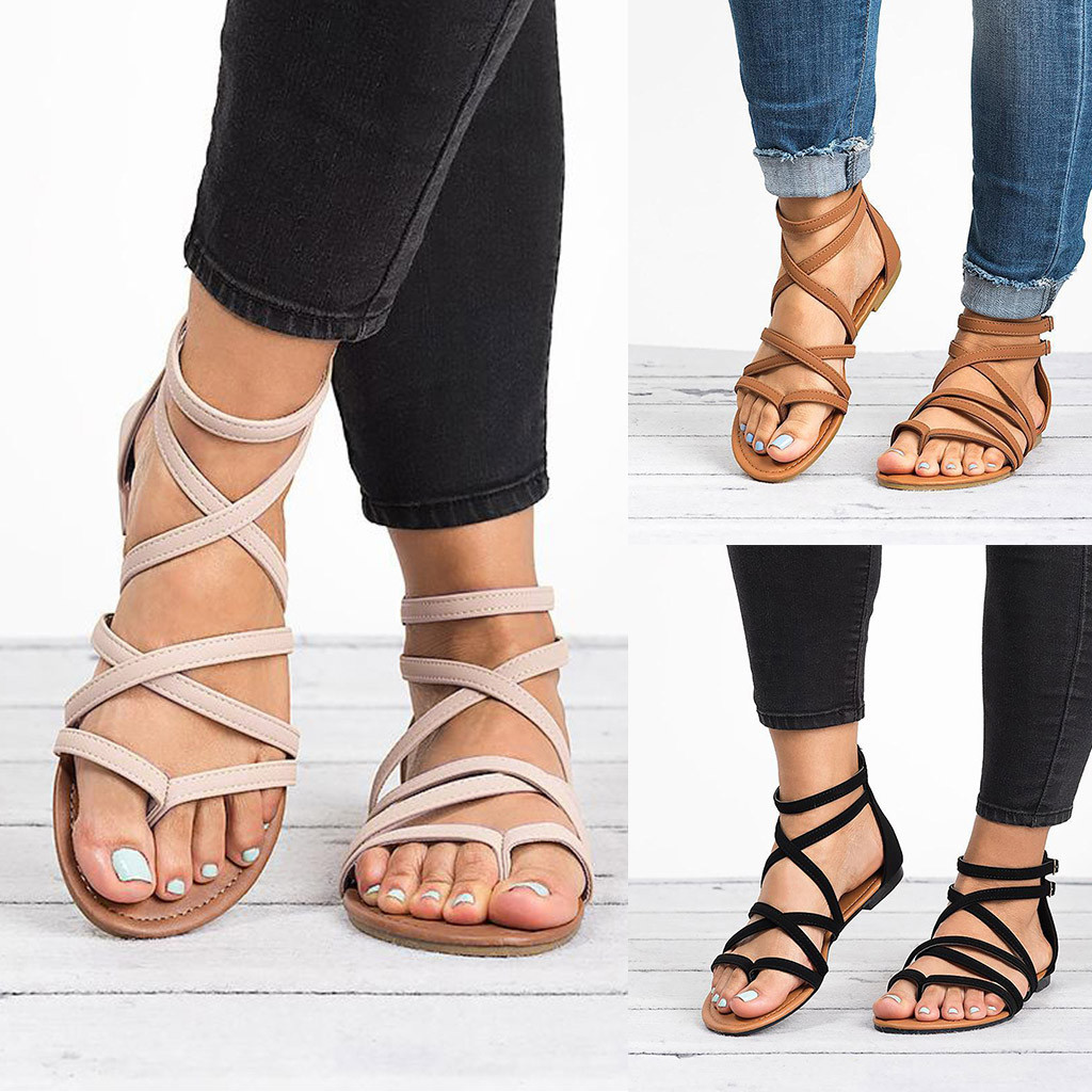 Roman Shoes Loafers Heel Flip-Flops Slides Beach-Sandals Woven Flat Fashion Summer Women's