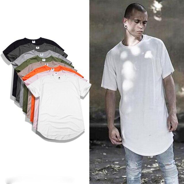 d4734a29c95 100% cotton 2017 new Kanye West Extended T-Shirt Men Summer Curved Hem  Longline