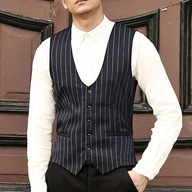 Mens dress suit vest slim fit Formal Business Party waistcoat men striped  wedding vest gilet homme Casual Colete Masculino