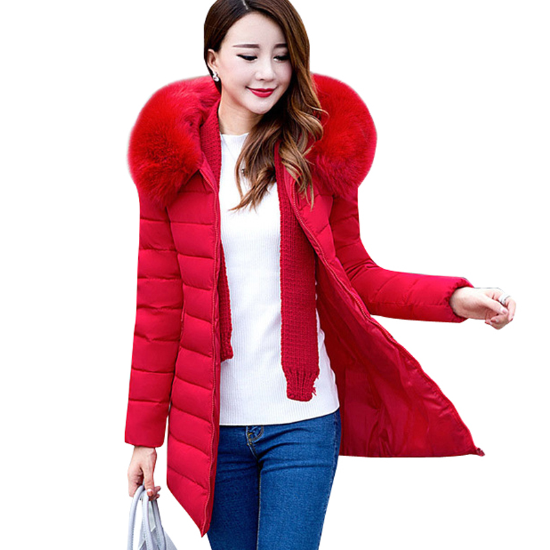 2017 Plus Size XL-7XL Parkas Jacket Women Winter Coats Medium-long Fur Collar Thick Solid Hooded Down  Cotton Padded Warm Coats 2017 new fur collar parkas women winter coats medium long thick solid hooded down cotton female padded jacket warm slim outwear