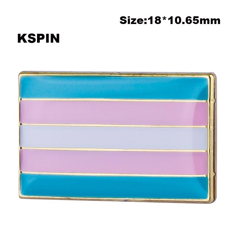 Transgender pride flag lapel pin badge pin 300pcs a lot Brooch Icons XY0134