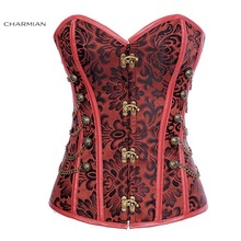 Charmian Vintage Steampunk / Spiral Steel Boned Faux Leather Overbust Corset